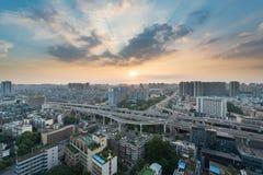 Ανταλλαγή YingMenKou στο ηλιοβασίλεμα σε Chengdu στοκ εικόνα με δικαίωμα ελεύθερης χρήσης