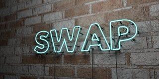 ΑΝΤΑΛΛΑΓΗ - Καμμένος σημάδι νέου στον τοίχο τοιχοποιιών - τρισδιάστατο δικαίωμα ελεύθερη απεικόνιση αποθεμάτων διανυσματική απεικόνιση