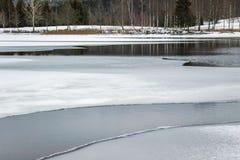 Αντανάκλαση δέντρων στην παγωμένη λίμνη στο χειμώνα Στοκ φωτογραφία με δικαίωμα ελεύθερης χρήσης