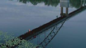 Αντανάκλαση της γέφυρας με τα φανάρια στον ποταμό το βράδυ απόθεμα βίντεο