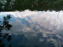 Αντανάκλαση του ουρανού, των σύννεφων και των εγκαταστάσεων στο νερό Επίδραση μαγισσών στοκ φωτογραφίες με δικαίωμα ελεύθερης χρήσης