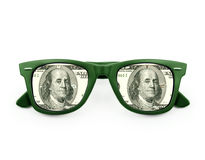 Αντανάκλαση ενός λογαριασμού $100 στα γυαλιά ηλίου Στοκ Εικόνα