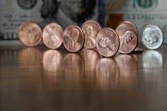 Αντανακλάσεις νομισμάτων αμερικανικών σεντ Στοκ φωτογραφία με δικαίωμα ελεύθερης χρήσης