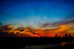 Αντανακλάσεις της σκιαγραφίας ηλιοβασιλέματος στο έλος κυπαρισσιών Στοκ φωτογραφίες με δικαίωμα ελεύθερης χρήσης