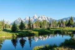 Αντανακλάσεις των μεγάλων βουνών Teton στοκ εικόνα