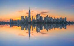 Αντανακλάσεις ανατολής πόλεων της Νέας Υόρκης Στοκ Εικόνα
