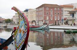 Αντανακλάσεις πόλεων στον ποταμό, Αβέιρο Πορτογαλία Στοκ φωτογραφία με δικαίωμα ελεύθερης χρήσης