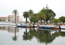 Αντανακλάσεις πόλεων στον ποταμό, Αβέιρο Πορτογαλία Στοκ Φωτογραφίες