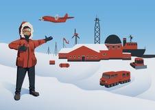 Ανταρκτική και βόρειος πόλος, διανυσματική απεικόνιση Πολικός εξερευνητής στον ερευνητικό σταθμό Παράκτια παραγωγή πετρελαίου διά απεικόνιση αποθεμάτων