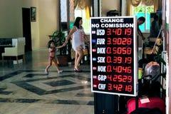 Ανταλλαγή νομίσματος στο ξενοδοχείο Alanya, Τουρκία παραλιών Kleopatra Στοκ Φωτογραφίες