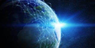 Ανταλλαγή παγκόσμιων δικτύων και στοιχείων πέρα από τον κόσμο απεικόνιση αποθεμάτων