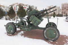 Αντιαεροπορική εγκατάσταση zpu-4 πολυβόλων υπαίθρια μουσείο του αναμνηστικού σύνθετου ` Krasnaya Gorka ` στην πόλη Evpato Στοκ Εικόνα