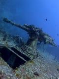Αντιαεροπορικό πυροβόλο όπλο από τα συντρίμμια SS Thistlegorm στοκ εικόνα
