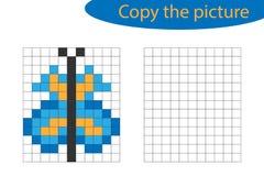 Αντιγράψτε την εικόνα, τέχνη εικονοκυττάρου, κινούμενα σχέδια πεταλούδων, που σύρουν τις δεξιότητες εκπαιδευτικός, εκπαιδευτικό π διανυσματική απεικόνιση