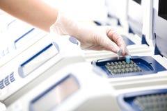 αντιγράψτε το λευκό επιστημόνων γαντιών DNA Στοκ Εικόνες