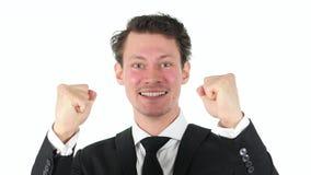 Αντιδρών στην επιτυχία, επιχειρηματίας στο άσπρο υπόβαθρο Στοκ εικόνες με δικαίωμα ελεύθερης χρήσης