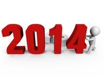 Αντικαθιστώντας τους αριθμούς για να διαμορφώσει το νέο έτος 2014 - ένα τρισδιάστατο ima ελεύθερη απεικόνιση δικαιώματος