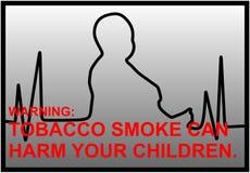Αντικαπνιστικές προειδοποιήσεις με τη γραμμή EKG και τη σκιαγραφία του λίγου BO Στοκ Εικόνα