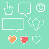 Αντικείμενα εικονοκυττάρου για τα εικονίδια παιχνιδιών καθορισμένα Η κοινωνική ομιλία δικτύωσης βράζει: Smiley, αγάπη Στοκ φωτογραφία με δικαίωμα ελεύθερης χρήσης
