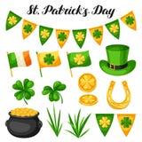 Αντικείμενα ημέρας Αγίου Patricks Σημαία Ιρλανδία, δοχείο των χρυσών νομισμάτων, των τριφυλλιών, του πράσινων καπέλου και του πετ ελεύθερη απεικόνιση δικαιώματος