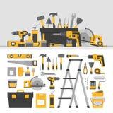 Αντικείμενα και έμβλημα εγχώριας επισκευής Εργαλεία onstruction Ð ¡ στενά παλαιά σκουριασμένα γρατσουνισμένα εργαλεία χεριών επάν Ελεύθερη απεικόνιση δικαιώματος