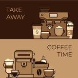 Αντικείμενα και εξοπλισμός καφέ Παρασκευάζοντας μέθοδοι φλυτζανιών και καφέ Κοβάλτιο διανυσματική απεικόνιση
