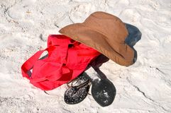 Αντικείμενα παραλιών στην άμμο Στοκ εικόνες με δικαίωμα ελεύθερης χρήσης
