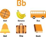 αντικείμενα, φρούτα & λαχανικά από το αλφάβητο Β για τα παιδιά Ελεύθερη απεικόνιση δικαιώματος