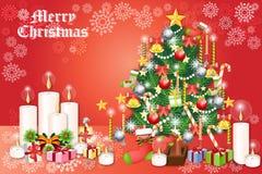 Αντικείμενα Χριστουγέννων με το δέντρο, τις κάλτσες και τα κεριά πεύκων - απεικόνιση eps10 απεικόνιση αποθεμάτων
