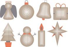 αντικείμενα Χριστουγέννων που τίθενται Στοκ Εικόνες