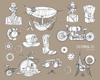 Αντικείμενα Steampunk και μηχανή συλλογής μηχανισμών, ιματισμός, άνθρωποι και εργαλεία Συρμένη χέρι εκλεκτής ποιότητας απεικόνιση απεικόνιση αποθεμάτων