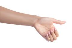 Αντικείμενο εκμετάλλευσης χεριών χειρονομίας γυναικών στοκ εικόνες με δικαίωμα ελεύθερης χρήσης
