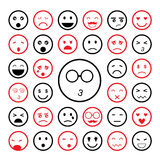 Αντιμετωπίζει emoticon τα εικονίδια καθορισμένα Στοκ Φωτογραφία