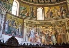 Αντιπροσώπευση μωσαϊκών Coronation της Virgin, βασιλική της Σάντα Μαρία σε Trastevere Στοκ Φωτογραφία