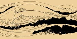 Αντιπροσώπευση της θάλασσας στο ιαπωνικό ύφος ελεύθερη απεικόνιση δικαιώματος