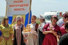 Αντιπρόσωποι της περιοχής του Βόλγκογκραντ το όλος-ρωσικό αγροτικό Sa στοκ εικόνα