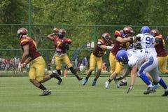 Αντιστοιχία αμερικανικού ποδοσφαίρου μεταξύ των λύκων και του μπλε δράκου στοκ εικόνα με δικαίωμα ελεύθερης χρήσης