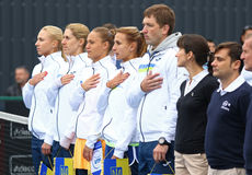 Αντιστοιχία Ουκρανία αντισφαίρισης FedCup εναντίον της Αργεντινής Στοκ φωτογραφίες με δικαίωμα ελεύθερης χρήσης