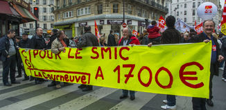 αντι διαμαρτυρία του Παρισιού αυστηρότητας στοκ φωτογραφία με δικαίωμα ελεύθερης χρήσης
