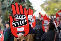 Αντι διαμαρτυρία TTIP Στοκ Φωτογραφία