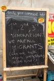 Αντι μήνυμα UKIP για τη μετανάστευση στον πίνακα Στοκ Φωτογραφία