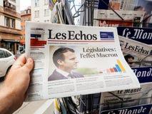 Αντιδράσεις Τύπου Macron επίδρασης στις γαλλικές νομοθετικές εκλογές 20 Στοκ Εικόνες