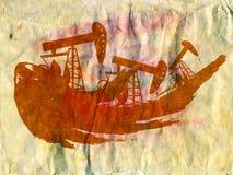 Αντλία πετρελαίου Grunge σε χαρτί Στοκ εικόνες με δικαίωμα ελεύθερης χρήσης