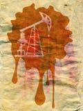 Αντλία πετρελαίου Grunge σε χαρτί Στοκ φωτογραφίες με δικαίωμα ελεύθερης χρήσης
