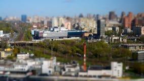 Ανυψωμένη άποψη πέρα από την πόλη του Κίεβου, χρονικό σφάλμα 2017 μικροσκοπικός απόθεμα βίντεο