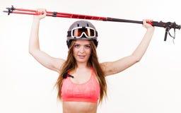 Ανυψωτικοί να κάνει σκι γυναικών πόλοι Στοκ φωτογραφία με δικαίωμα ελεύθερης χρήσης
