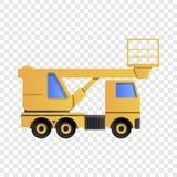 Ανυψωτικό εικονίδιο φορτηγών, ύφος κινούμενων σχεδίων διανυσματική απεικόνιση