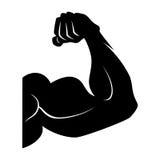 Ανυψωτικό σύμβολο δύναμης Βραχίονας μυών Μαύρο διανυσματικό εικονίδιο που απομονώνεται ελεύθερη απεικόνιση δικαιώματος