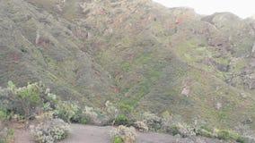 Ανύψωση της εναέριας άποψης των βουνών Anaga στο ηλιοβασίλεμα Tenerife, Κανάρια νησιά, Ισπανία απόθεμα βίντεο