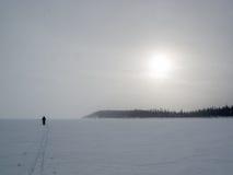 Ανώμαλο άγονο αρκτικό χειμερινό τοπίο σκιέρ στοκ εικόνες